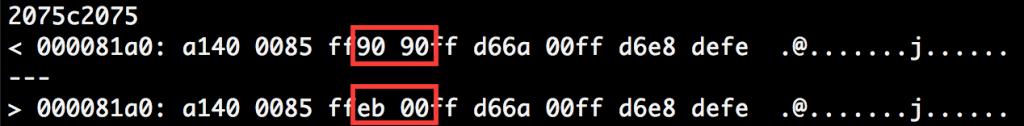 図4 (1)と(2)の検体のコードの差異